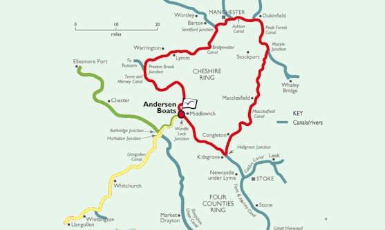 Routes vaarvakanties Midden-Engeland