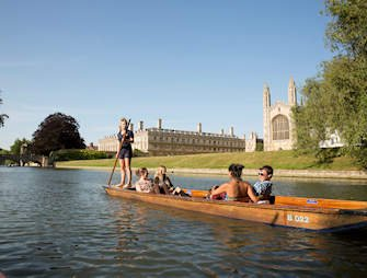 Punting by king's college, Cambridge