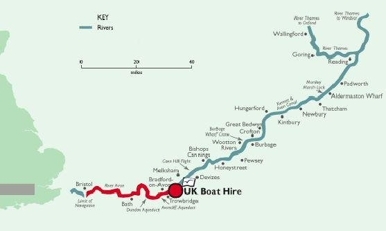 Kennet Avon canal routekaart